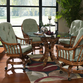 Walnut Grove 5 piece Dining Set with Caster Dining Chairs