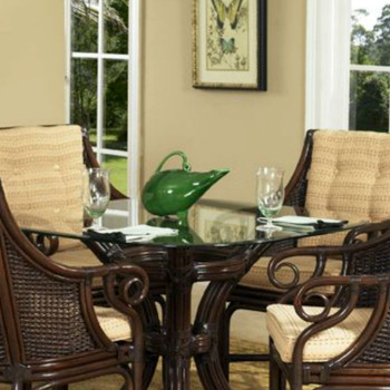 Windsor Dining Table with Beveled Glass Top