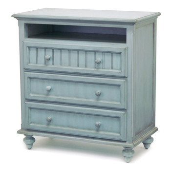 Monaco Three Drawer Media Chest in a distressed bleu finish