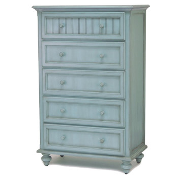 Monaco Five Drawer Chest in a distressed bleu finish