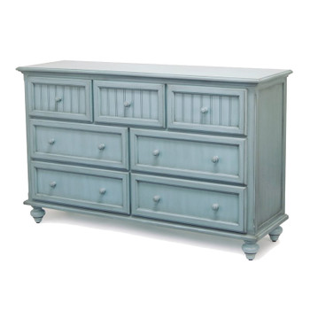 Monaco Seven Drawer Dresser in a distressed bleu finish