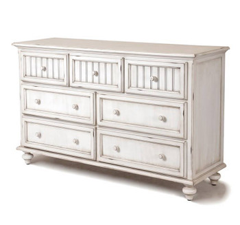 Monaco Seven Drawer Dresser in a distressed blanc finish