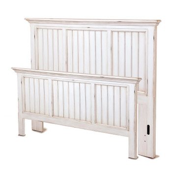 Monaco headboard and footboard in a distressed blanc finish