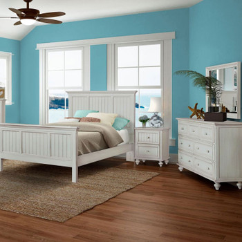 Monaco 4 piece Complete Bedroom Set shown in a distressed blanc finish
