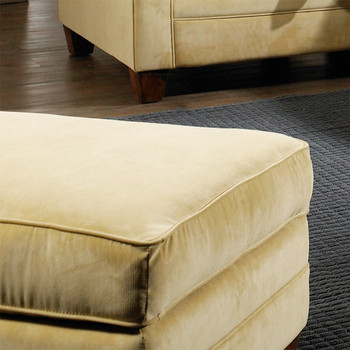 The Highland Ottoman comes in your choice of feet, fabric, and finish color.