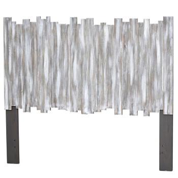 Island Breeze Picket Fence Headboard in a Distressed Grey/Blanc finish