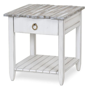 Picket Fence End Table in Distressed Grey/Blanc finish