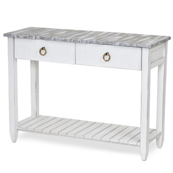 Picket Fence Console Table in Distressed Grey/Blanc finish