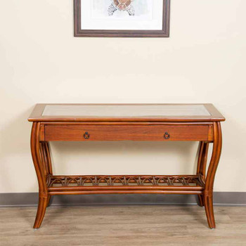 Cuba Sofa Table with Glass in Sienna Finish