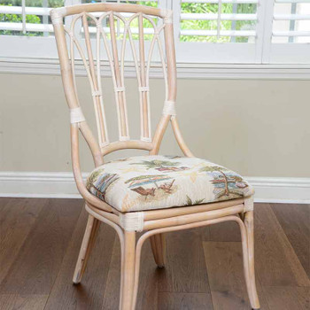 Cuba Dining Side Chair in Washed Linen Finish and Escapade Sand Fabric