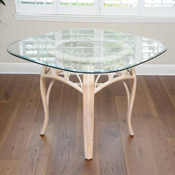 Cuba Dining Table with Square Round Glass in Washed Linen Finish