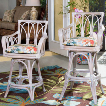 Cuba Swivel Barstool/Counterstool with Arm  in Rustic Driftwood Finish and Tuvalu Sunset fabric