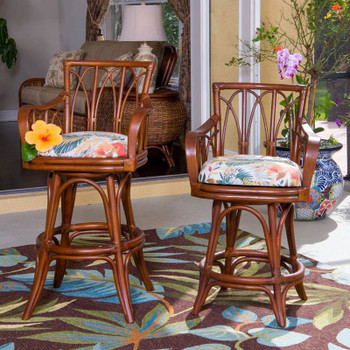 Cuba Swivel Barstool/Counterstool with Arm  in Sienna Finish and Tuvalu Sunset fabric