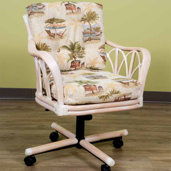 Cuba Tilt Swivel Caster Chair in Washed Linen Finish and Escapade Sand Fabric