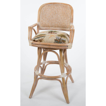 Cayman Swivel Barstool with Arm in Washed Linen finish