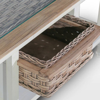 Detail of Island Breeze Basket End Table in Weathered Wood/White finish