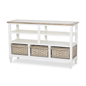 Island Breeze 3-Basket Entertainment Center in Weathered Wood/White finish