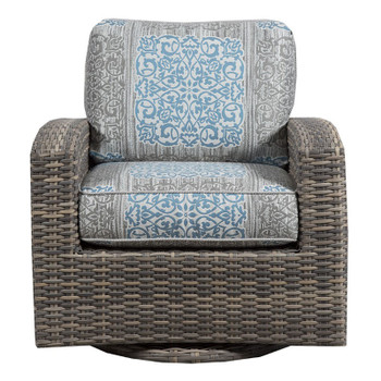 Mambo Outdoor Swivel Glider - Enzo Grey Fabric - front