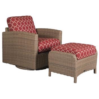 Lodge Outdoor 2pc Swivel Glider and Ottoman - Accord Crimson Fabric