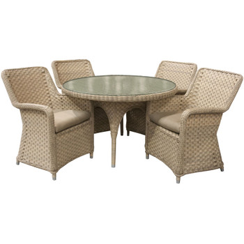 """El Dorado Outdoor 5pc Dining Set with 4 Arm Chairs and 48"""" Round Table"""