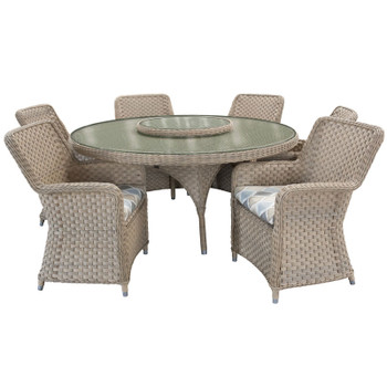 """El Dorado Outdoor 7pc Dining Set with 4 Arm Chairs and 67"""" Round Table"""