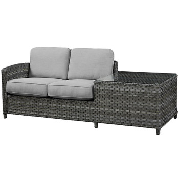 Lorca Outdoor 1-Arm Loveseat w/ Corner Table