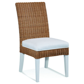 Farmhouse Dining Side Chair in fabric '0313-91 B' with Havana finished wicker and Cottage White finished legs