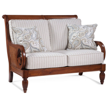Grand View Loveseat in '0223-93 C' fabric with pillow fabric '0570-84 E' and Havana finish