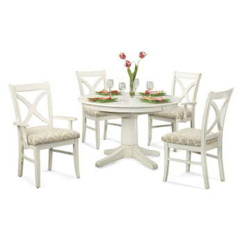 "Hues 5 piece 42"" Round Dining Set in Antique Cottage White finish"
