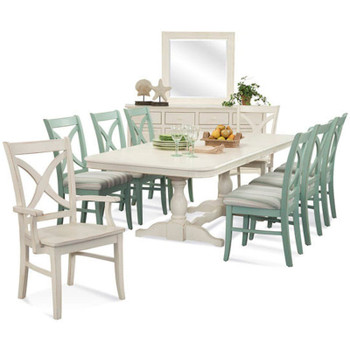 Hues 9 piece Rectangular Extension Dining Set with Buffet & Mirror