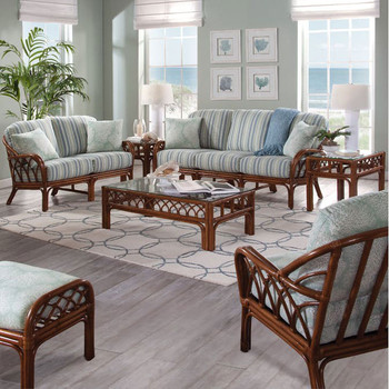 Edgewater Seating Collection in fabric '0252-54 C' and Havana finish