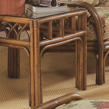 Edgewater End Table with Glass Top