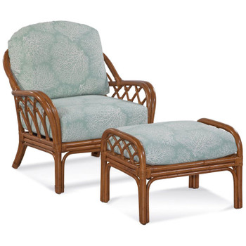 Edgewater Chair and Ottoman in Havana finish