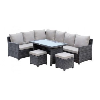 Spectrum 5 piece Outdoor Dining Sectional Set