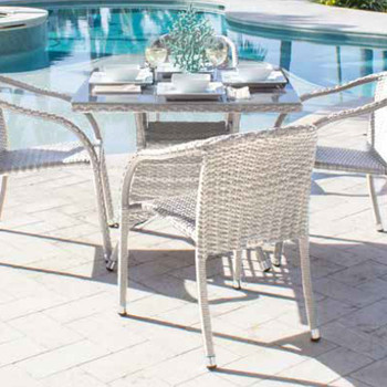 Santorini Outdoor 5 pc Dining Set with Side Chairs