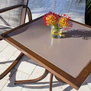 Valdosta Outdoor Square End Table with Tempered Glass