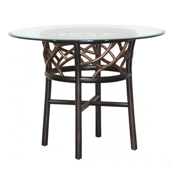 """Trinidad Round 42"""" Dining Table with Glass Top"""