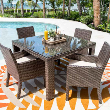 "Samoa Outdoor 47"" Square Woven Dining Table with optional glass top"