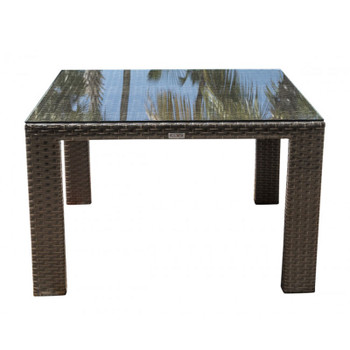 "Samoa Outdoor 47"" Square Woven Dining Table with glass top"