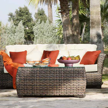 Samoa Outdoor Coffee Table with Glass