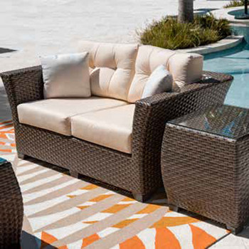 Samoa Outdoor Loveseat and End Table