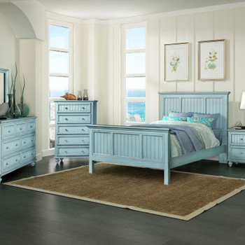Monaco 5 piece Complete Bedroom Set shown in a distressed blue finish