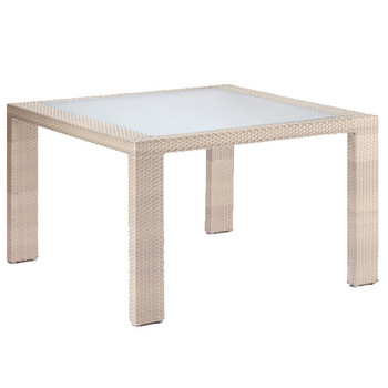 Cubix Outdoor Square Woven Dining Table with Inset Tempered Glass