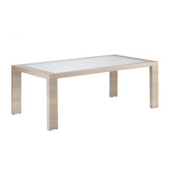 Cubix Outdoor Rectangular Woven Dining Table with Tempered Inset Glass