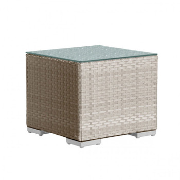 Cubix Outdoor End Table with glass top