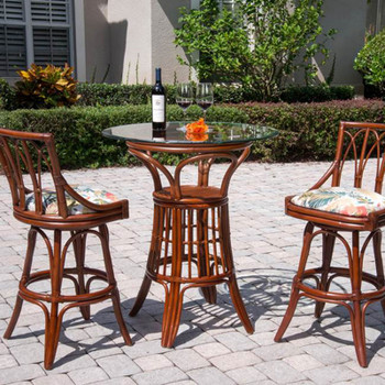 Cuba Pub Table Set w/ Swivel Armless Barstools in Sienna Finish