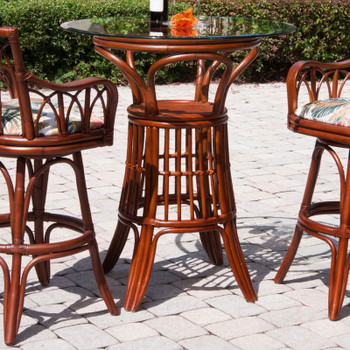 Cuba Pub Set w/ Swivel Barstoolswith Arms in Sienna Finish
