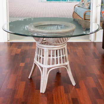 """Bermuda Dining Table with 48"""" Round Glass in Rustic Driftwood finish"""