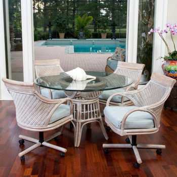 Bermuda 5 piece Dining Set with Caster Arm Chairs in Rustic Driftwood finish