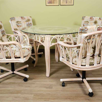Cuba 5 piece Dining Set with Caster Arm Chairs in Washed Linen Finish